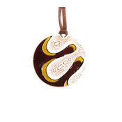 Round Fused Glass Necklace - Coffee Swirl