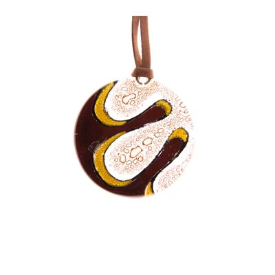 Fair Trade Round Fused Glass Necklace - Coffee Swirl » £9.99 - Fair Trade Jewellery