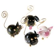Animal Card Holder Ornament Set (Cat, Dog, Cow, Pig)