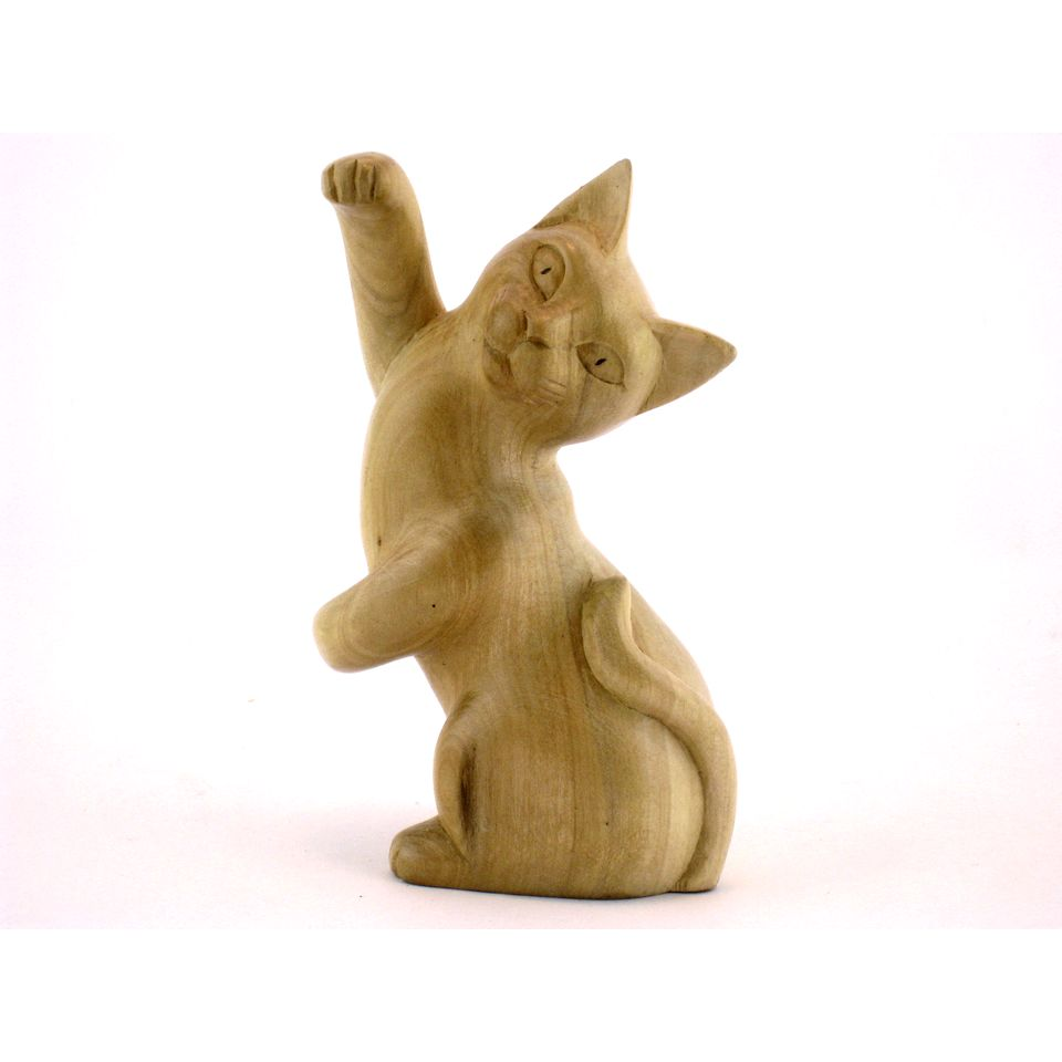 Fair Trade Carved Wooden Dancing Cat 187 163 7 99 Fair Trade